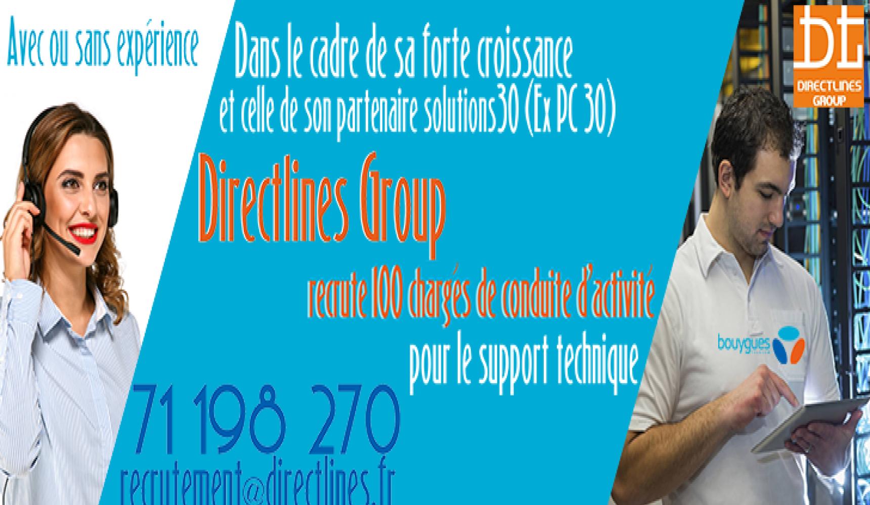 Directlines Groupe recrute 100 Chargés de Conduite d'Activité