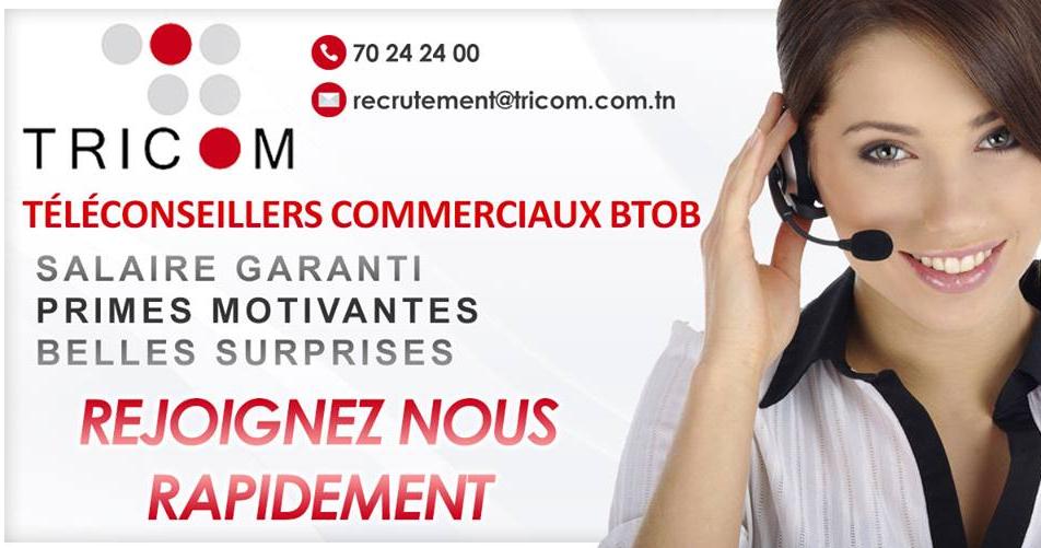 Tricom recrute des Téléconseillers Commerciaux BtoB