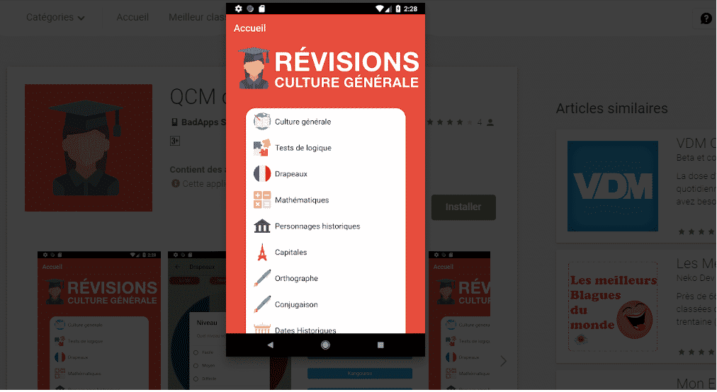 Meilleures Applications Android de QCM 2019